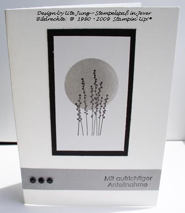 Trauerkarte mit Schattenbildern