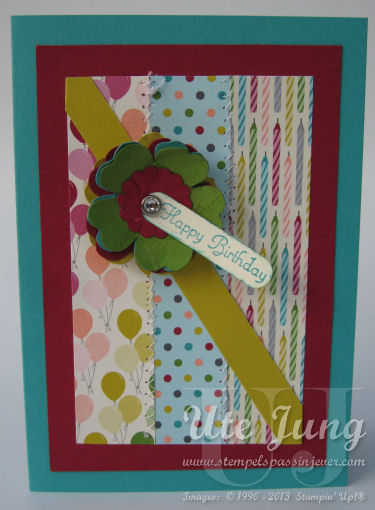 Geburtstagskarte mit Stiefmütterchenstanze