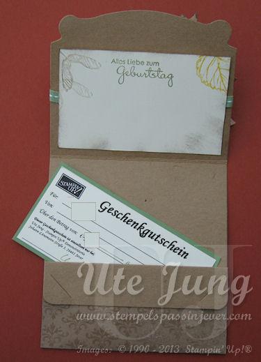 Herbstliche Geschenk-oder Geldverpackung geöffnet
