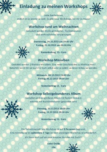 Flyer Weihnachtsworkshops