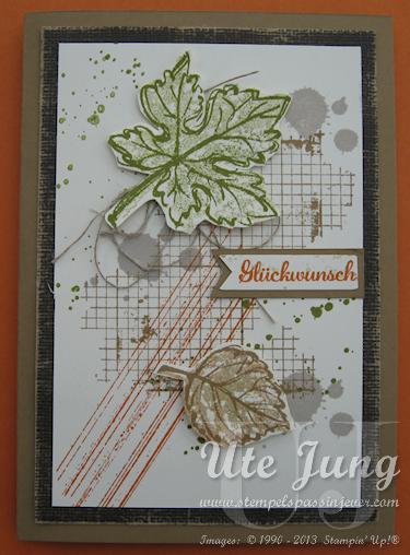 """Herbstkarte mit """"Georgeous Grunge"""" und """"Gently falling"""""""