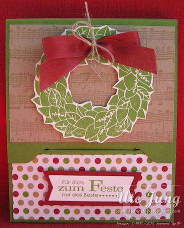Gutscheinkarte mit dem Stempel Wonderful Wreath