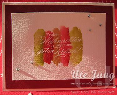 Schnelle Weihnachtskarte mit Aquarellpapier und Embossing