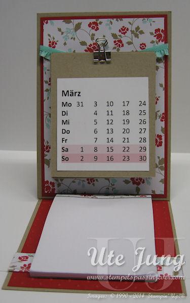 Kalender mit Notizblock zum Aufstellen