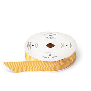 """130019 3/4"""" (1,9 cm) Geschenkband mit Fischgrätmuster Curry-Gelb. Statt 10,95 € nur 8,21 €"""