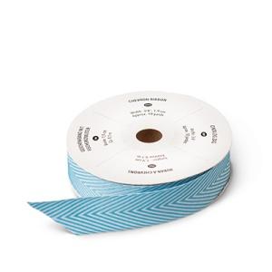 """130016 3/4"""" (1,9 cm) Geschenkband mit Fischgrätmuster Ozeanblau. Statt 10,95 € nur 8,21 €"""