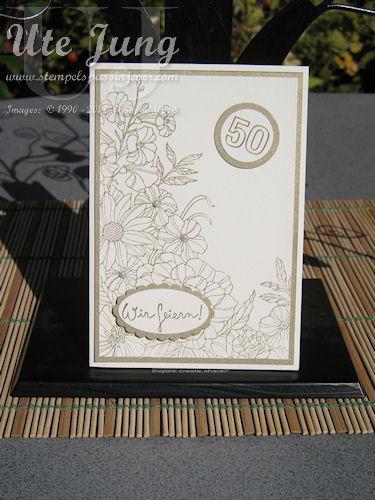 """Einladung zur Goldenen Hochzeit <br />mit dem Stampin' Up! Stempelset """"Corner Garden"""""""