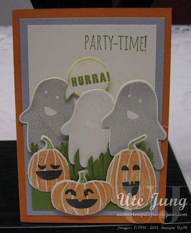 """Einladungskarte mit dem Stempelset """"Fall Fest"""" und """"Partyfieber"""""""