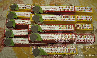 """Herbstliche Geschenkverpackung mit dem Designerpapier """"Bunter Herbst"""" und dem Stempelset """"Project Life Bunte Blätter & Flockentanz"""""""
