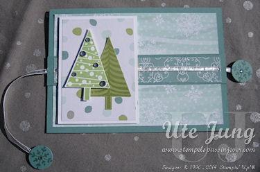 """Weihnachtliche Ziehkarte mit dem Stempelset """"Christbaumfestival"""" und der passenden Stanze """"Tannenbaum"""""""