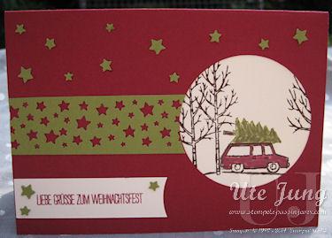 """Weihnachtskarte mit dem Stempelset  """"Weiße Weihnacht"""" und der Stanze """"Sternenkonfetti"""