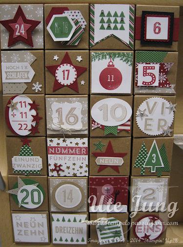 Adventskalender aus den Stampin' Up! Mini-Geschenkschachteln