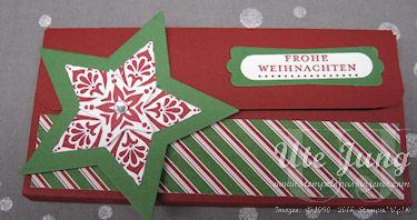 """Schokoladenverpackung mit dem Stampin' Up! Stempelset """"Zauber der Weihnacht"""" und dem Designerpapier """"Festlich geschmückt"""""""