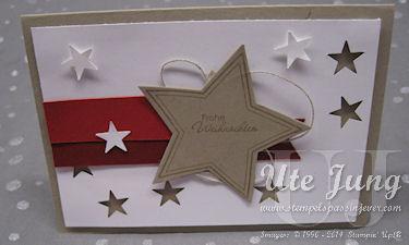 """Weihnachtskarte mit dem Stempelset """"Many Merry Stars"""""""