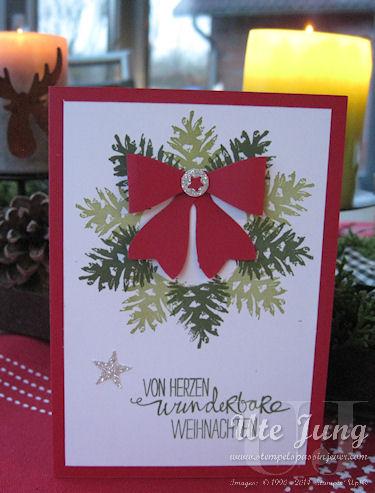 """Weihnachtskranz, gestaltet mit dem Tannenzapfen aus dem Stempelset """"Klassische Weihnacht"""""""