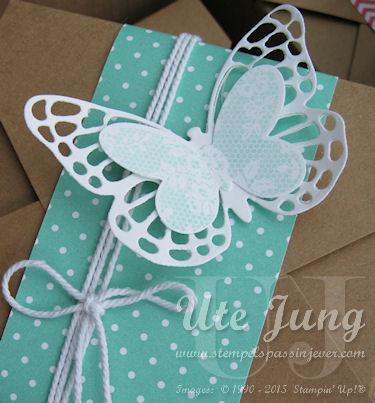 """Schmetterling, ausgeschnitten mit Hilfe der Big Shot und den Thinlits Formen """"Schmetterlinge"""""""