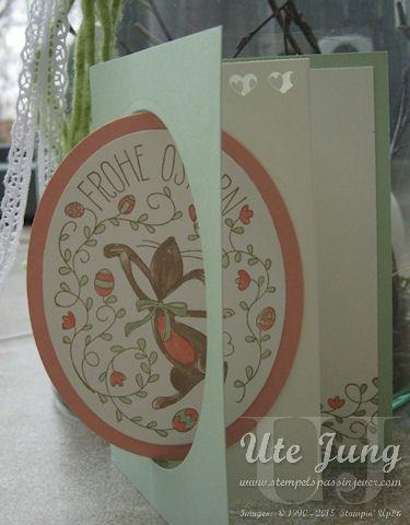 Stempel Osterhasengruß, ausgeschnitten mit den Framelits Ovalkollektion
