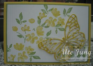 "Frühlingskarte mit dem Stempelset ""Painted Petals"" und der Thinlit ""Schmetterlinge"""