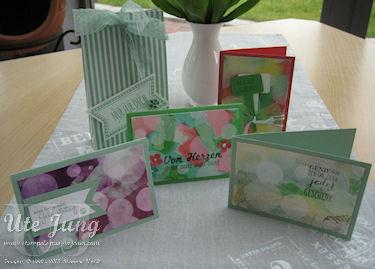 Kartenset gestaltet mit der Bokehtechnik und passende Verpackung