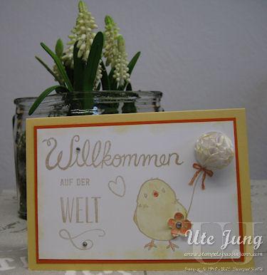 """Karte zur Geburt mit dem Stempelset """"Herzlich Willkommen"""" und dem Sale-a-bration Set """"So süß"""""""