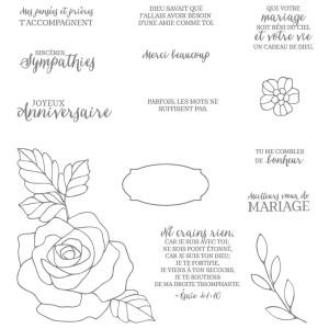 141105 Stempelset Klarsicht Essence de rose Französisch. Statt 33,00 € jetzt 24,75 €