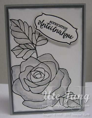 """Trauerkarte mit dem Stempelset """"Rosenzauber"""""""