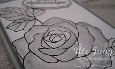 Rose schwarz embosst
