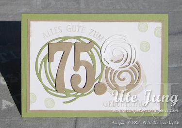 Swirly Bird Gelückwunschkarte zum 75. Geburtstag