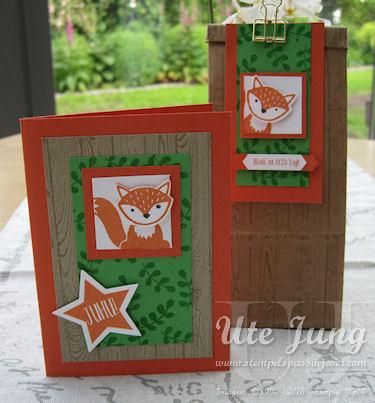 Geschenkset Karte und Tüte Fuchs