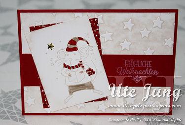Weihnachtskarte mit dem Stempelset Festtagsmäuse