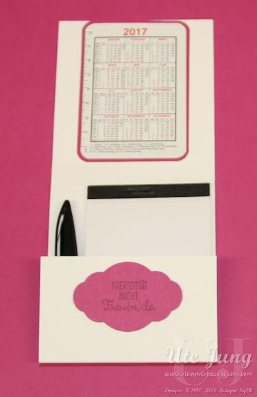Verpackung mit Block, Stift und Kalender