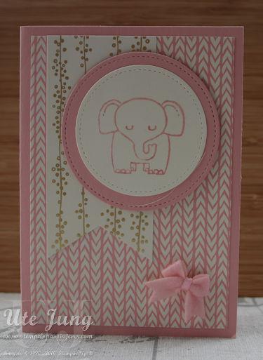 """Babykarte mit dem Stampin' Up! Stempelset """"Tierische Glückwünsche"""""""