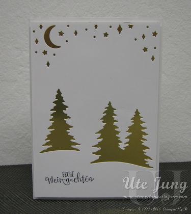 Weihnachtskarte mit den Thinlits Formen Festtagsdesign