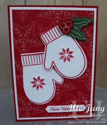 """Schlichte Weihnachtskarte mit dem Stempelset """"Festliche Fäustlinge"""""""