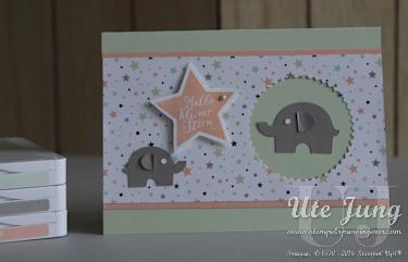 """Designerpapier """"Sternenhimmel"""" und Elementstanze """"Elefant"""""""