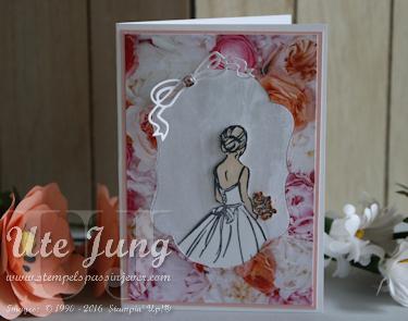 """Hochzeitskarte mit dem Stempelset """"Besondere Wünsche"""" und den Framelits Formen """"Bestickt durchs Jahr"""""""