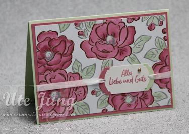 """Designerpapier """"Blütenglanz"""", coloriert mit den Stampin' Blends"""