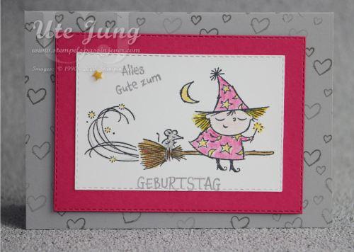"""Geburtstagskarte mit der kleinen Hexe aus dem Stempelset """"Flight and Fancy"""""""