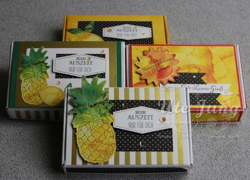 """Mini Paper Pumpkin Boxen dekoriert mit den Materialien aus dem Paper Pumpkin """"Sonne pur"""""""